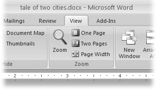 The Zoom group of options lets you view your document close up or at a distance. The big magnifying glass opens the Zoom dialog box with more controls for fine-tuning your zoom level. For quick changes, click one of the three buttons on the right: One Page, Two Pages, or Page Width.