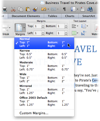 The Margins Menu Provides Some Standard Settings Such As The Ever Popular One  Inch All The  One Inch Margins