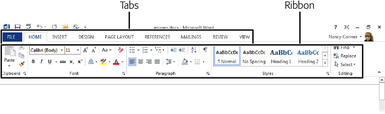 The ribbon in Word. Click any tab, and the ribbon displays commands related to that tab. The Home tab (shown here) gathers together some of the most common actions, keeping them easy to find.