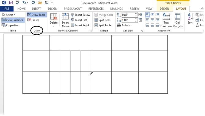Office drawing tools for Table design libreoffice