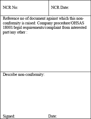 appendix i sample format for a non conformity report ncr