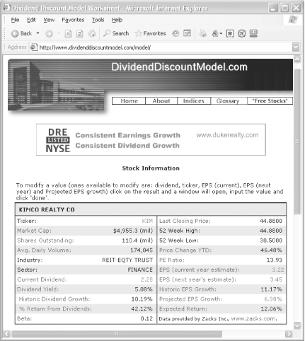 DividendDiscountModel.com quickly calculates the expected return of dividend-paying stocks