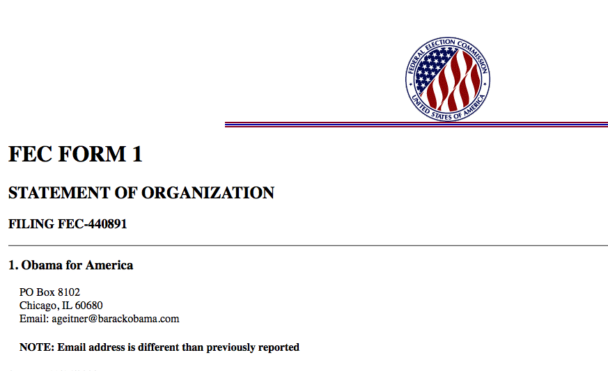 Example of an FEC filing