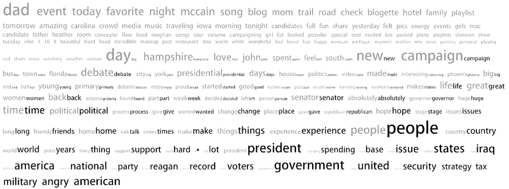 Comparative tag cloud of two McCain blogs: John's (in dark text) and Meghan's (in light text)