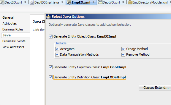 Time for action – generating a Java API for DeptEO