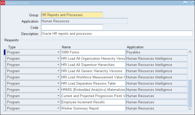 Request and data group - Oracle E-Business Suite R12 x HRMS – A