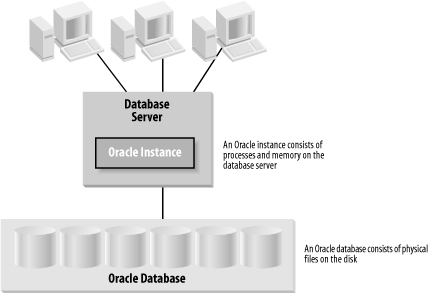 An instance and a database