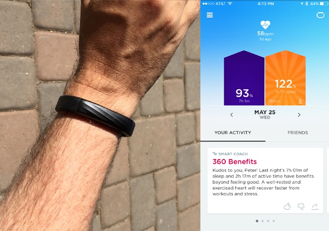 The fitness tracker Jawbone UP3 has no display. The device has no value without its app, a cloud-based service storing the user's data and providing personalized insights. The physical product is simply a part of a larger service ecosystem. (Photograph by Peter Merholz)