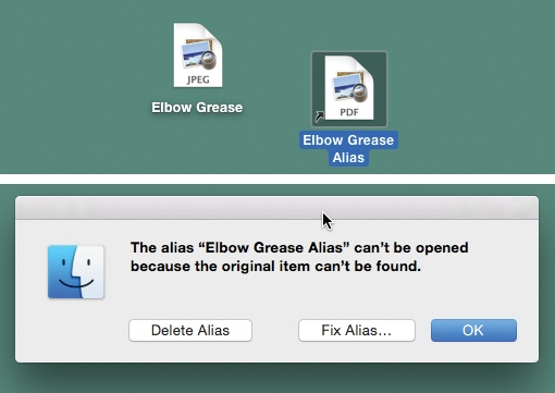 Top: You can identify an alias by the tiny arrow badge on the lower-left corner. (Longtime Mac fans should note that the name no longer appears in italics.)Bottom: If the alias can't find the original file, you're offered the chance to hook it up to a different file.