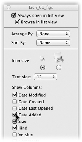 The checkboxes you turn on in the View Options dialog box determine which columns of information appear in a list-view window. Many people live full and satisfying lives with only the three default columns—Date Modified, Kind, and Size—turned on. But the other columns can be helpful in special circumstances; the trick is knowing what information appears there.