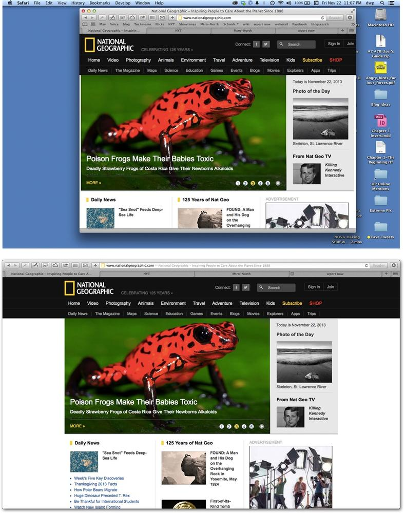 Top: So much for the glorious Web. You're seeing a Web page segment, swimming in an ocean of toolbars, scroll bars, status bars, menu bars, and distracting desktop.Bottom: In Full Screen mode, Safari stretches to the very edges of your screen, and everything else disappears. (Your address bar and tab bars are still available in this case.)Each full-screen app becomes its own desktop in Mission Control. And you can put a full-screen app on each of your monitors, too.Tip: Wouldn't it be nice if there were a keyboard shortcut for bringing the menu bar back, if nothing else, so that you can check your battery level and the time of day? There is: Press ⌘-space bar. That's the keystroke for Spotlight, the Mac's master search bar—but it also makes the menu bar appear. Press the same keystroke to hide the menu bar again.