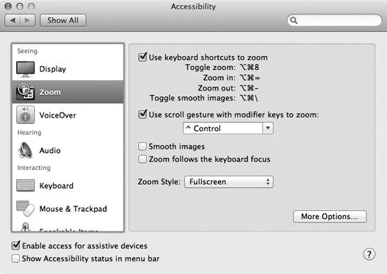 You'll be amazed at just how much you can zoom into the Mac's screen using this Accessibility pane. In fact, there's nothing to stop you from zooming in so far that a single pixel nearly fills the entire monitor. (That may not be especially useful for people with limited vision, but it can be handy for graphic designers learning how to reproduce a certain icon, dot by dot.)