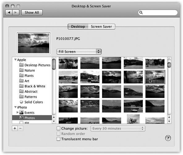 Using the list of picture sources at left, you can preview an entire folder of your own images before installing one as your new desktop picture. Use the button to select a folder of assorted graphics—or, if you're an iPhoto veteran, click an iPhoto album name, as shown here. Clicking one of the thumbnails installs the corresponding picture on the desktop.