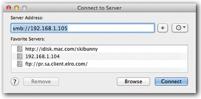 The Connect to Server dialog box lets you type in the IP address for the shared Mac you want to access. (Ensuring that the shared Mac is turned on and connected to the Internet is the network administrator's problem.)