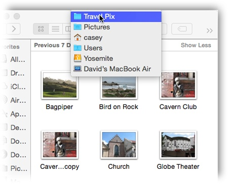 Right-click or two-finger click a Finder window's title bar to summon the hidden folder hierarchy menu. This trick also works in most other OS X programs. For example, you can right-click a document window's title to find out where the document is actually saved on your hard drive.