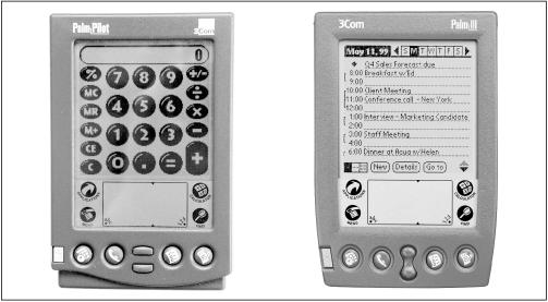 The Palm III (right) has a slightly sleeker shape than its predecessor, the PalmPilot (left).