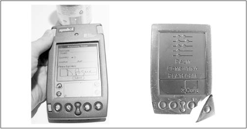 The Symbol SPT 1500 (left) adds a barcode scanner to the top of a Palm III. It's somewhat more functional than the never-released chocolate PalmPilot (right).