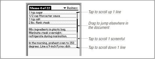 PalmPilot scrollbars can be tapped in four different places.