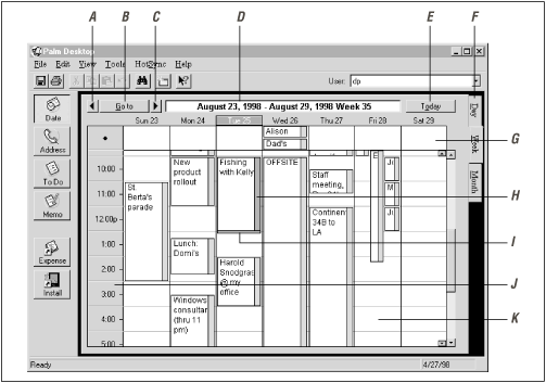 On the PC, the Date Book shows considerably more information than the PalmPilot's tiny screen. The screen is rife with mouse-clickable places; simultaneous events appear side-by-side.