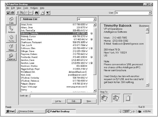 Click a name in the Address Book list (center) to view that person's complete info screen (right). The tiny key icon indicates a Private record; the tiny Note icon indicates that you've attached a note to this person's entry.