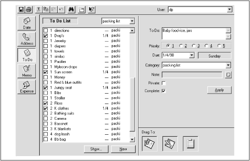 Palm Desktop's To Do program offers more than just the master list—at right, it shows a closeup view of whichever item is currently selected. In this illustration, two additional columns have been turned on: the Completion Date and the Category columns.