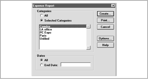Specify which category (or categories) of expenses you want sent to Excel.