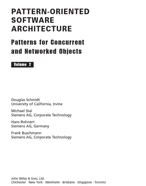 Title page - Pattern-Oriented Software Architecture, Volume 2
