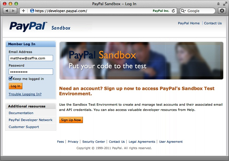 Log in to the sandbox environment with your developer account (which is separate from your ordinary PayPal account).