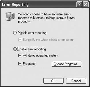 Turn off error reporting to prevent Windows XP from tattling on software crashes.