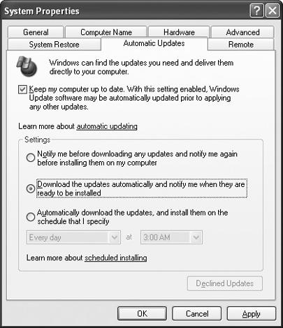 Configure Windows XP to download updates and patches automatically.