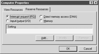 The Reserve Resources dialog allows you to remove resources from the pool available to Windows and assign those resources manually to legacy devices
