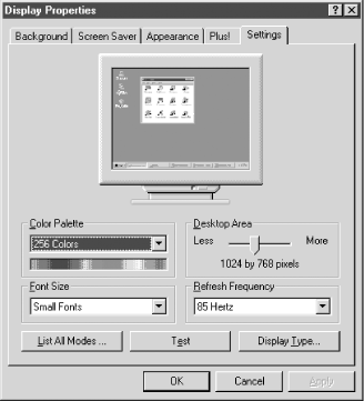 Use the Display Properties Settings page in Windows NT 4 to configure all video settings