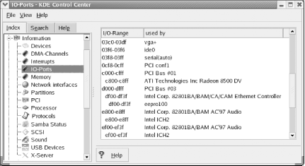 Using the KDE Control Center to list I/O ports in use
