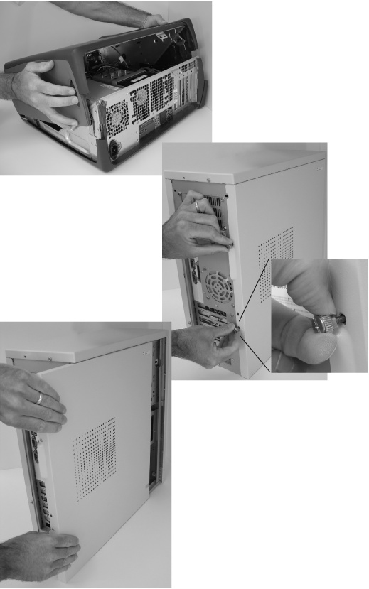 Top: You can open some cases by pressing two large buttons that sit on opposing sides of the case. Press the buttons and lift upwards; the case begins to hinge open.Middle: Screws hold most other cases together. To open the case, remove the screws or thumbscrews (inset) that hold the side panel in place.Bottom: After removing the screws, slide off the panel, pulling it toward the back of the computer.