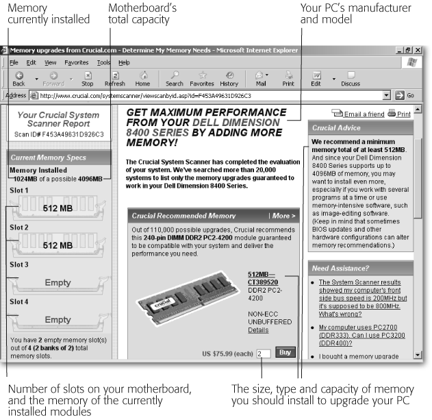 In less than a minute, Crucial's Memory Advisor program () scans your computer and dishes up exactly what you need to know when replacing memory: the amount of memory your motherboard can handle, the type of memory you need, the number of empty and used memory banks, a suggested memory module for your computer, and its price. Print out the page and check prices at local shops before buying.