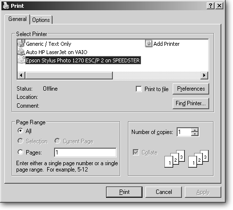 Choose Print From Any Programs File Menu To See This Window The Layout Varies Subtly