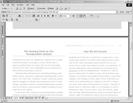 Viewing a PDF document through Acrobat Reader in the browser