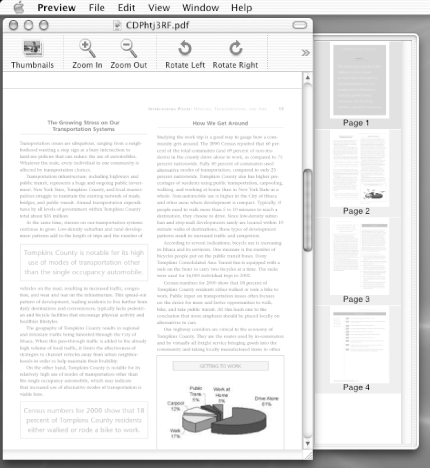 Viewing a PDF document through Mac OS X's Preview application