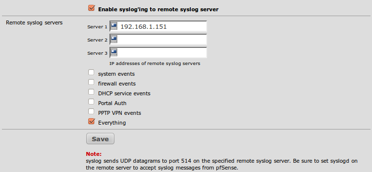Configuring an external syslog server - pfSense 2 Cookbook [Book]