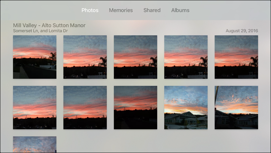 **①** The Apple TV Photos app gives you access to your iCloud Photo Library, Memories, and albums.