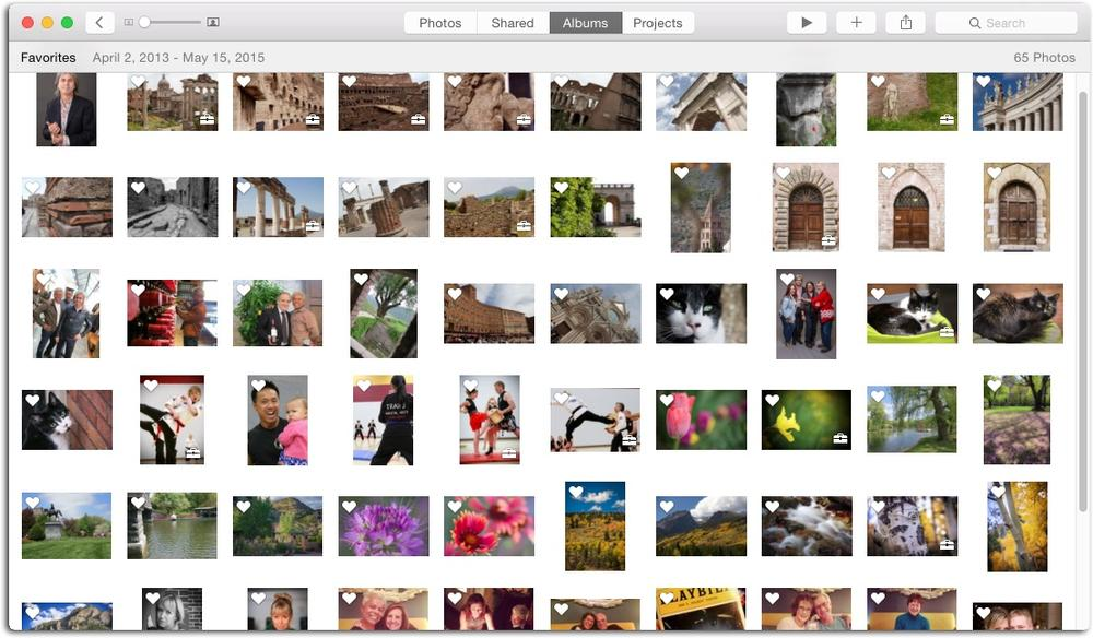 If you use favorite tags to mark your best shots, then the Favorites album contains quite a variety of thumbnails.