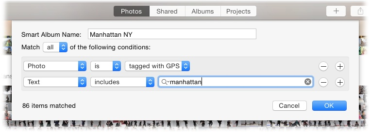 "This smart album finds all the photos that contain GPS info and the text ""Manhattan."" With the Match menu set to ""all,"" only pictures that were taken in Manhattan, New York show up, which excludes all the pictures you've taken that include the word ""Manhattan"" elsewhere in their metadata—say, in a description of the famous cocktail you imbibed."