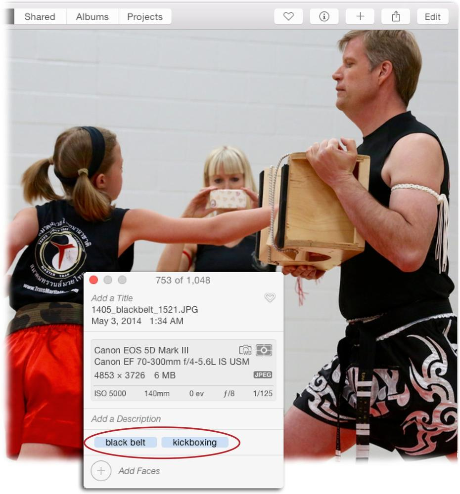 If you use the Info panel to add a keyword you've never used before, Photos adds it to your keyword list the second you press Return. To enter a keyword phrase such as black belt, type both words, and then press Return.Photos displays your keywords in alphabetical order in the Info panel regardless of the order you entered them.(Mr. Grace and his daughter are pictured here during her black-belt test in Muay Thai kickboxing.)
