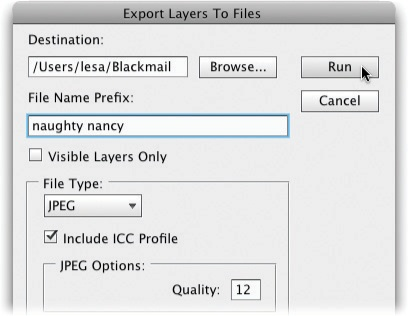 The Export Layers To Files dialog box lets you choose where to put the new files and what to name them. If you want to exclude any hidden layers (page 82), turn on the Visible Layers Only checkbox. In the File Type pop-up menu, you can choose any of the following file formats: BMP, JPEG, PDF, PSD, TARGA, TIFF, PNG-8, or PNG-24 (all of which are discussed on pages 50–52). Each format gives you different options; for example, JPEG lets you pick a quality setting. Photoshop includes your document's ICC profile (see the Note on page 682) in each file unless you turn off the lower checkbox shown here.