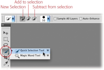 When you activate the Quick Selection tool, the Options bar sports buttons that let you create a new selection and add to or subtract from the current selection.You can press the W key to activate the Quick Selection tool. To switch between it and the Magic Wand, press Shift-W.