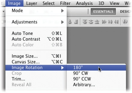Choose Image→Image Rotation to view this handy menu of image- and document-rotation options (Photoshop doesn't get any simpler than this). You can also rotate and flip images with the Free Transform command, as the next section explains.