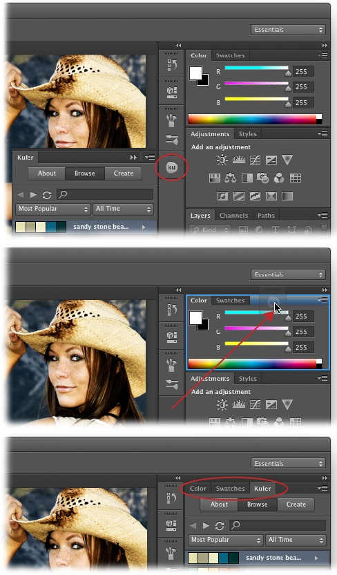 Top: When you open a new panel, Photoshop adds it to a column to the left of your other panels and gives it a handy button that you can click to collapse or expand it. The tiny dotted line above each button is its handle; click and drag one to reposition the panel in the column, add the panel to a panel group, and so on. If the panel you opened is related to another panel—like the Brush panel and the Brush Presets panel—then both panels will open as a panel group with a single handle (note the two buttons above the circle here).Middle: When you're dragging a panel into a panel group, wait until you see a blue line around the inside of the group before you release your mouse button. Here, the Kuler panel is being added to a panel group. (You can see a faint version of the Kuler panel's button where the red arrow is pointing.)Bottom: When you release your mouse button, the new panel becomes part of the group. To rearrange panels within a group, drag their tabs (circled) left or right.