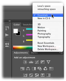 "Most of the built-in workspaces are designed to help you perform specialized tasks. For example, the Painting workspace puts the Brushes and Navigation panels at the top right and groups together the color-related panels you'll undoubtedly use when painting. Take the built-in workspaces for a test drive—they may give you customization ideas you hadn't thought of. If you're familiar with Photoshop but new to this version, try out the ""New in CS6"" workspace, which highlights all the menu items that include new features—a great way to see the additions at a glance."