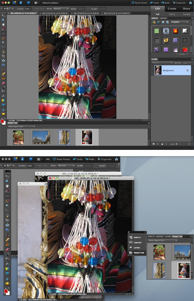 Two different ways of working with the same images, panels, and tools. You can use any arrangement that suits you.Top: The panels in the standard Elements arrangement, with the images in the regular tabbed view (page 107).Bottom: This image shows how you can customize your panels. Here, the Project bin has been combined with other floating panels and the whole group is collapsed to icons. Click a panel's icon and that panel pops out so you can work with it, like the Project bin here. The images here are in floating windows (page 107).