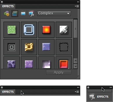 You can free up lots of space by collapsing panels accordion-style once they're out of the bin.Top: A full-sized panel.Bottom left: A panel collapsed by double-clicking where the cursor is.Bottom right: The same panel collapsed to an icon by double-clicking the very top of it (where the cursor is here). Double-click the top bar again to expand it.